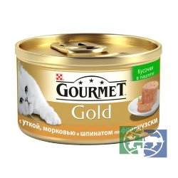 Консервы для кошек Purina Gourmet Gold Террин, утка, морковь и шпинат кусочки в паштете, банка, 85 гр.