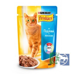 Консервы для кошек Purina Friskies, лосось, пауч, 100 гр.
