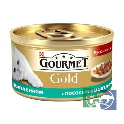 Консервы для кошек Purina Gourmet Gold, лосось и цыплёнок, банка, 85 гр.