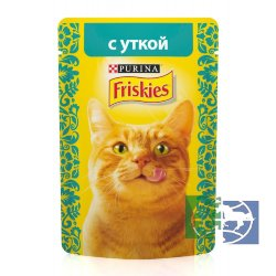 Консервы для кошек Purina Friskies, утка, пауч, 85 гр