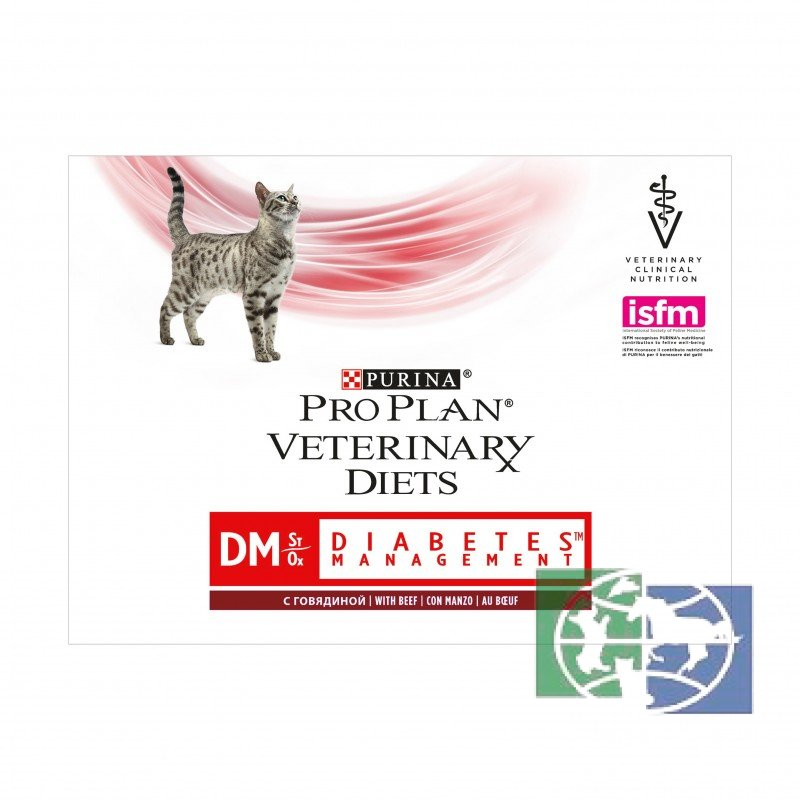 Консервы Purina Pro Plan Veterinary Diets DM для кошек с диабетом, говядина, пауч, 85 гр.