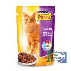Консервы для кошек Purina Friskies, говядина и ягнёнок, пауч, 100 гр.