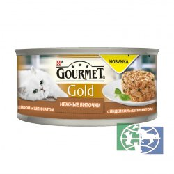Консервы для кошек Purina Gourmet Gold Нежные биточки, индейка со шпинатом, банка, 85 гр.