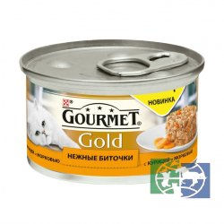 Консервы для кошек Purina Gourmet Gold Нежные биточки, курица с морковью, банка, 85 гр.