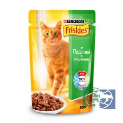 Консервы для кошек Purina Friskies, кролик, пауч, 100 гр.